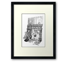 Cat by the Fire Hearth Framed Print