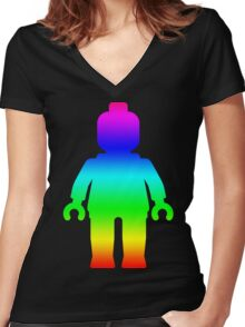 Minifig [Large Rainbow 1]  Women's Fitted V-Neck T-Shirt