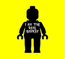 "Black Minifig with ""I am the Real Banksy"" slogan by Customize My Minifig by ChilleeW"