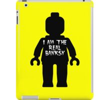 """Black Minifig with """"I am the Real Banksy"""" slogan by Customize My Minifig iPad Case/Skin"""