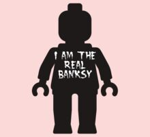 """Black Minifig with """"I am the Real Banksy"""" slogan by Customize My Minifig Kids Clothes"""