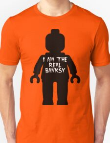 "Black Minifig with ""I am the Real Banksy"" slogan by Customize My Minifig T-Shirt"