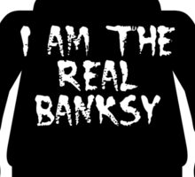 "Black Minifig with ""I am the Real Banksy"" slogan by Customize My Minifig Sticker"