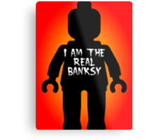 "Black Minifig with ""I am the Real Banksy"" slogan by Customize My Minifig Metal Print"