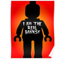 """Black Minifig with """"I am the Real Banksy"""" slogan by Customize My Minifig Poster"""