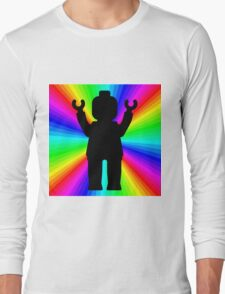Black Minifig in front of Rainbow Long Sleeve T-Shirt