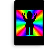 Black Minifig in front of Rainbow Canvas Print