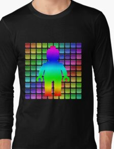 Rainbow Minifig in Front of Buttons Long Sleeve T-Shirt