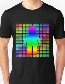 Rainbow Minifig in Front of Buttons Unisex T-Shirt