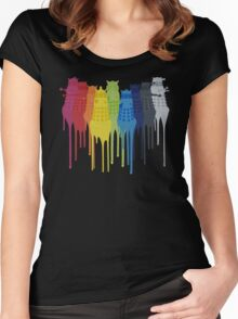 Dalek Extermination Rainbow Women's Fitted Scoop T-Shirt