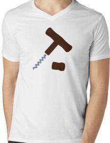 Corkscrew Wine Mens V-Neck T-Shirt