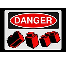 Danger Bricks Sign  Photographic Print