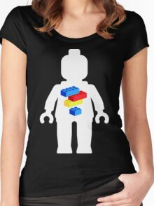 White Minifig with Bricks Logo by Customize My Minifig Women's Fitted Scoop T-Shirt