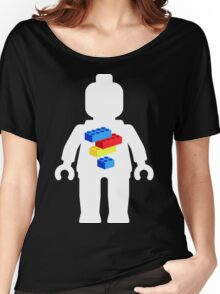 White Minifig with Bricks Logo by Customize My Minifig Women's Relaxed Fit T-Shirt