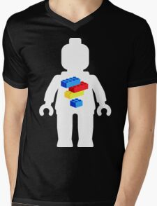 White Minifig with Bricks Logo by Customize My Minifig Mens V-Neck T-Shirt
