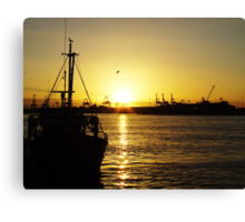 Docklands at sunset Canvas Print