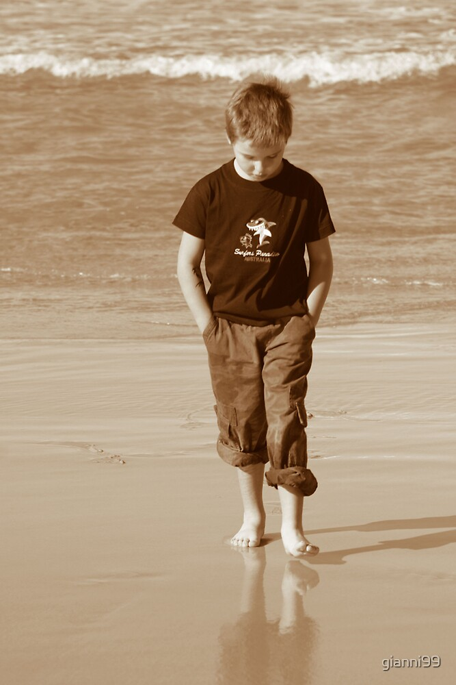boy on beach by gianni99