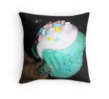 Colorful Cupcake with Sprinkles Throw Pillow