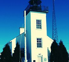 Early Spring thaw at Sand Point Light-Escanaba, Michigan by Kathy Russell