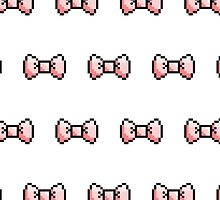 Pixel Ribbon Bow Pattern (pink) by maximumcapacity