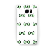 Pixel Ribbon Bow Pattern (mint) Samsung Galaxy Case/Skin
