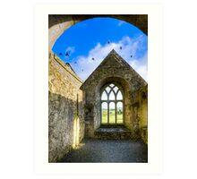 County Galway - Birds over Monastic Ruins Art Print