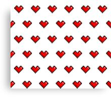 Pixel Heart Pattern Canvas Print