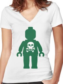 Minifig with Skull Design Women's Fitted V-Neck T-Shirt