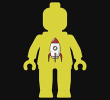 Minifig with Rocket Ship  Kids Tee
