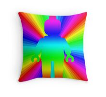 Rainbow Minifig in front of Rainbow  Throw Pillow