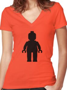 Minifig [Black]  Women's Fitted V-Neck T-Shirt