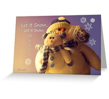 Snowman with His Snowbaby Greeting Card