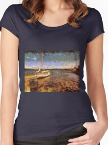 Old vintage wooden sail boat Women's Fitted Scoop T-Shirt