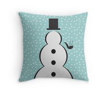 Snowman Christmas Scene Throw Pillow