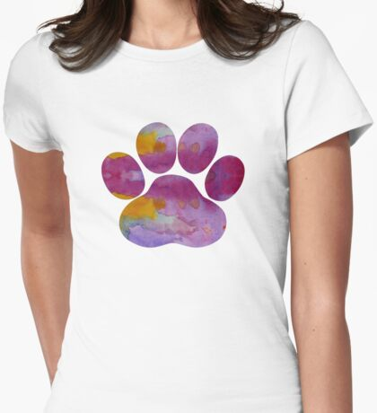 Dog Paw Print Womens Fitted T-Shirt
