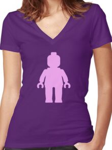 Minifig [Light Pink] Women's Fitted V-Neck T-Shirt