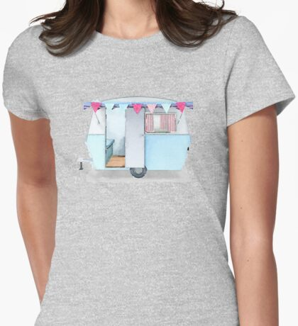Cute vintage caravan with bunting Womens Fitted T-Shirt