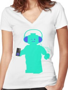 Minifig with Headphones & iPod Women's Fitted V-Neck T-Shirt