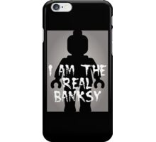 "Black Minifig with ""I am the Real Banksy"" slogan [Large] by Customize My Minifig iPhone Case/Skin"