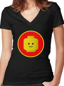 MINIFIG HAPPY FACE Women's Fitted V-Neck T-Shirt