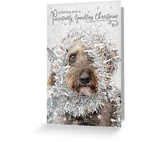 Humorous Christmas Card - Dog Wearing Tinsel Greeting Card