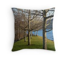 trees at the marina Throw Pillow