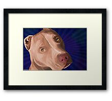 Red Nose Pit Bull Painted on Blue Background Framed Print