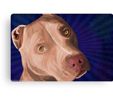 Red Nose Pit Bull Painted on Blue Background Canvas Print