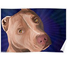 Red Nose Pit Bull Painted on Blue Background Poster