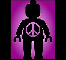 Black Minifig with Peace Symbol, by Customize My Minifig by Customize My Minifig