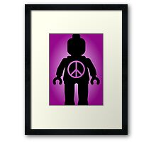Black Minifig with Peace Symbol, by Customize My Minifig Framed Print
