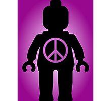 Black Minifig with Peace Symbol, by Customize My Minifig Photographic Print