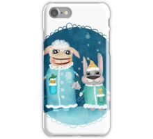 Funny postcard with sheep and rabbit iPhone Case/Skin