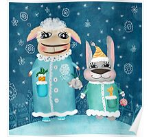 Funny postcard with sheep and rabbit Poster